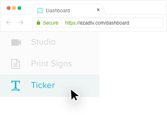 How to find the ticker feature within EZ-AD's platform